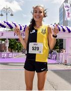 2 June 2019; Aoibhe Richardson of Kilkenny City Harriers, Co. Kilkenny, celebrates winning the 2019 Vhi Women's Mini Marathon. 30,000 women from all over the country took to the streets of Dublin to run, walk and jog the 10km route, raising much needed funds for hundreds of charities around the country. www.vhiwomensminimarathon.ie.  Photo by Sam Barnes/Sportsfile