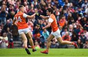 2 June 2019; Jarleth Óg Burns of Armagh, right, turns and celebrates with Rian O'Neill after scoring his side's first goal  during the Ulster GAA Football Senior Championship Semi-Final match between Cavan and Armagh at St Tiernach's Park in Clones, Monaghan Photo by Oliver McVeigh/Sportsfile