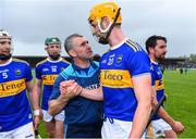 2 June 2019; Tipperary manager Liam Sheedy in conversation with Barry Heffernan, alongside Brendan Maher, 5, and Robert Byrne, 18, and Patrick Maher, right, after the Munster GAA Hurling Senior Championship Round 3 match between Clare and Tipperary at Cusack Park in Ennis, Co Clare. Photo by Piaras Ó Mídheach/Sportsfile