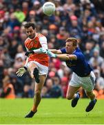 2 June 2019; Jamie Clarke of Armagh in action against Jason McLoughlin of Cavan during the Ulster GAA Football Senior Championship Semi-Final match between Cavan and Armagh at St Tiernach's Park in Clones, Monaghan. Photo by Oliver McVeigh/Sportsfile