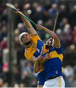 2 June 2019; Patrick O'Connor of Clare in action against Patrick Maher of Tipperary during the Munster GAA Hurling Senior Championship Round 3 match between Clare and Tipperary at Cusack Park in Ennis, Co. Clare. Photo by Diarmuid Greene/Sportsfile