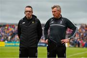 2 June 2019; Clare joint managers Donal Moloney, left, and Gerry O'Connor prior to the Munster GAA Hurling Senior Championship Round 3 match between Clare and Tipperary at Cusack Park in Ennis, Co. Clare. Photo by Diarmuid Greene/Sportsfile