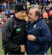 2 June 2019; Armagh Manager Kieran McGeeney and Cavan manager Mickey Graham shake hands after the Ulster GAA Football Senior Championship Semi-Final match between Cavan and Armagh at St Tiernach's Park in Clones, Monaghan. Photo by Oliver McVeigh/Sportsfile