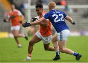 2 June 2019; Jemar Hall of Armagh in action against Cian Mackey of Cavan during the Ulster GAA Football Senior Championship Semi-Final match between Cavan and Armagh at St Tiernach's Park in Clones, Monaghan. Photo by Oliver McVeigh/Sportsfile