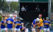 2 June 2019; RTÉ Sunday Game analysts Jackie Tyrell, left, and Ken McGrath and and presenter Joanne Cantwell look on during the Munster GAA Hurling Senior Championship Round 3 match between Clare and Tipperary at Cusack Park in Ennis, Co Clare. Photo by Piaras Ó Mídheach/Sportsfile