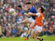 2 June 2019; Dara McVeety of Cavan in action against James Morgan of Armagh during the Ulster GAA Football Senior Championship Semi-Final match between Cavan and Armagh at St Tiernach's Park in Clones, Monaghan. Photo by Oliver McVeigh/Sportsfile