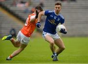 2 June 2019; Conor Madden of Cavan in action against Aidan Nugent of Armagh during the Ulster GAA Football Senior Championship Semi-Final match between Cavan and Armagh at St Tiernach's Park in Clones, Monaghan. Photo by Oliver McVeigh/Sportsfile