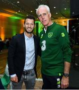 2 June 2019; Republic of Ireland manager Mick McCarthy with former Republic of Ireland player Wes Hoolahan during the CRISC Player of the Year Awards at Crowne Plaza Hotel in Blanchardstown, Dublin. Photo by Matt Browne/Sportsfile