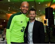 2 June 2019; Republic of Ireland goalkeeper Darren Randolph with former Republic of Ireland player Wes Hoolahan during the CRISC Player of the Year Awards at Crowne Plaza Hotel in Blanchardstown, Dublin. Photo by Matt Browne/Sportsfile