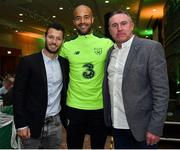 2 June 2019; Republic of Ireland goalkeeper Darren Randolph with former Republic of Ireland players Wes Hoolahan, left, and Alan McLoughlin during the CRISC Player of the Year Awards at Crowne Plaza Hotel in Blanchardstown, Dublin. Photo by Matt Browne/Sportsfile