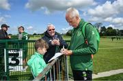 3 June 2019; Republic of Ireland manager Mick McCarthy signs an autograph for Lorcan Cronin, age 8, from Rathcoole, Co Dublin during a meet and greet at FAI National Training Centre in Abbotstown, Dublin. Photo by David Fitzgerald/Sportsfile
