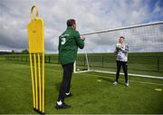 3 June 2019; Dylan Lynch, age 16, from Rathnew, Co Wicklow trains with goalkeeper coach Alan Kelly as part of the Share A Dream Foundation at FAI National Training Centre in Abbotstown, Dublin. Photo by David Fitzgerald/Sportsfile