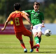 3 June 2019; Lee O Connor of Republic of Ireland in action against Jiabao Wen of China during the 2019 Maurice Revello Toulon Tournament match between China and Republic of Ireland at Stade de Lattre de Tassigny in Aubagne, France. Photo by Alexandre Dimou/Sportsfile