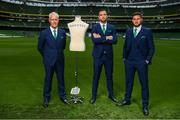 3 June 2019; Republic of Ireland manager Mick McCarthy with Shane Duffy and Matt Doherty, right, at the official launch of the new team suit for 2019 from sponsor Benetti Menswear at the Aviva Stadium in Dublin. Benetti are the official tailor to the FAI. For further information about Benetti log on to www.benetti.ie. Photo by Stephen McCarthy/Sportsfile