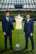 3 June 2019; Republic of Ireland's Shane Duffy, left, and Matt Doherty at the official launch of the new team suit for 2019 from sponsor Benetti Menswear at the Aviva Stadium in Dublin. Benetti are the official tailor to the FAI. For further information about Benetti log on to www.benetti.ie. Photo by Stephen McCarthy/Sportsfile