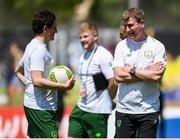 3 June 2019; Stephen Kenny head coach of Ireland with his staff during the 2019 Maurice Revello Toulon Tournament match between China and Republic of Ireland at Stade de Lattre de Tassigny in Aubagne, France. Photo by Alexandre Dimou/Sportsfile