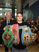4 June 2019; Katie Taylor arrives back to Dublin Airport following her Undisputed Female World Lightweight Championship bout victory against Delfine Persoon at Madison Square Garden in New York, USA, on Saturday. Pictured is Undisputed World Lightweight Champion Katie Taylor at Dublin Airport in Dublin. Photo by Harry Murphy/Sportsfile