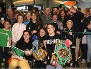 4 June 2019; Katie Taylor arrives back to Dublin Airport following her Undisputed Female World Lightweight Championship bout victory against Delfine Persoon at Madison Square Garden in New York, USA, on Saturday. Pictured is Undisputed World Lightweight Champion Katie Taylor is welcomed by fans at Dublin Airport in Dublin. Photo by Harry Murphy/Sportsfile