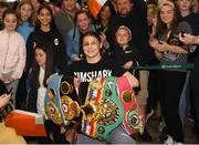 4 June 2019; Katie Taylor arrives back to Dublin Airport following her Undisputed Female World Lightweight Championship bout victory against Delfine Persoon at Madison Square Garden in New York, USA, on Saturday. Pictured is Undisputed World Lightweight Champion Katie Taylor with fans at Dublin Airport in Dublin. Photo by Harry Murphy/Sportsfile