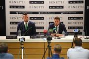 3 June 2019; Republic of Ireland's Matt Doherty, right, and Shane Duffy during a press conference at the official launch of the new team suit for 2019 from sponsor Benetti Menswear at the Aviva Stadium in Dublin. Benetti are the official tailor to the FAI. For further information about Benetti log on to www.benetti.ie. Photo by Stephen McCarthy/Sportsfile