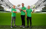 4 June 2019; Aviva Pride supporters, from left, Republic of Ireland international Ruesha Littlejohn, former Ireland international Tommy Bowe, and Republic of Ireland International Katie McCabe in attendance at the launch of Aviva Pride where for the first time in Irish history, Ireland's largest insurer is lighting up the iconic home of Irish soccer and rugby with the colours of Pride. See www.aviva.ie/pride or follow #SafeToDream on social media to find out more. Photo by Sam Barnes/Sportsfile