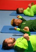 4 June 2019; Callum Robinson, centre, with team-mates Greg Cunningham, bottom, and Sean Maguire, top, during a Republic of Ireland gym session at the FAI National Training Centre in Abbotstown, Dublin. Photo by Stephen McCarthy/Sportsfile