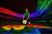 4 June 2019; Aviva, Ireland's largest insurer, are lighting up Aviva Stadium for the first time in Irish history with the colours of Pride. The iconic home of Irish soccer and rugby will be awash with rainbow colours until June 8. See www.aviva.ie/pride or follow #SafeToDream on social media to find out more. Pictured at the turning on of the lights is Republic of Ireland captain Katie McCabe. Photo by Stephen McCarthy/Sportsfile
