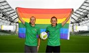 4 June 2019;  Aviva Pride supporters and Republic of Ireland internationals Ruesha Littlejohn, left, and Katie McCabe in attendance at the launch of Aviva Pride where for the first time in Irish history, Ireland's largest insurer is lighting up the iconic home of Irish soccer and rugby with the colours of Pride. See www.aviva.ie/pride or follow #SafeToDream on social media to find out more. Photo by Sam Barnes/Sportsfile