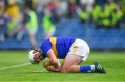 2 June 2019; Patrick Maher of Tipperary after picking up an injury while scoring his side's third goal during the Munster GAA Hurling Senior Championship Round 3 match between Clare and Tipperary at Cusack Park in Ennis, Co Clare. Photo by Piaras Ó Mídheach/Sportsfile