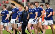2 June 2019; Cavan manager Mickey Graham comes off the field with his Cavan players after the Ulster GAA Football Senior Championship Semi-Final match between Cavan and Armagh at St Tiernach's Park in Clones, Monaghan. Photo by Oliver McVeigh/Sportsfile