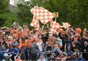 2 June 2019; Armagh fans on the terrace during the Ulster GAA Football Senior Championship Semi-Final match between Cavan and Armagh at St Tiernach's Park in Clones, Monaghan. Photo by Oliver McVeigh/Sportsfile
