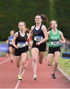 1 June 2019; Erin Leavy of St Vincent's Dundalk , Co. Louth, centre, on her way to winning the Minor Girls 800m event, ahead of Aoife Brown   of Castlecomer Community School, Co. Kilkenny, left, who was disqualified, during the Irish Life Health All-Ireland Schools Track and Field Championships in Tullamore, Co Offaly. Photo by Sam Barnes/Sportsfile