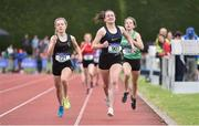 1 June 2019; Erin Leavy of St Vincent's Dundalk , Co. Louth, centre, on her way to winning the Minor Girls 800m event, ahead of Aoife Brown   of Castlecomer Community School, Co. Kilkenny, who was disqualified, during the Irish Life Health All-Ireland Schools Track and Field Championships in Tullamore, Co Offaly. Photo by Sam Barnes/Sportsfile
