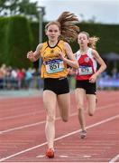 1 June 2019; Aimee Wallace of St Finian's College, Mullingar, Co. Westmeath, on her way to winning the Junior Girls 800m event during the Irish Life Health All-Ireland Schools Track and Field Championships in Tullamore, Co Offaly. Photo by Sam Barnes/Sportsfile
