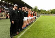 2 June 2019; Armagh Manager Kieran McGeeney and the rest of the Armagh management and subs standing during the pre match parade during the Ulster GAA Football Senior Championship Semi-Final match between Cavan and Armagh at St Tiernach's Park in Clones, Monaghan. Photo by Oliver McVeigh/Sportsfile