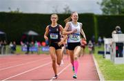 1 June 2019; Aimee Hayde of St Mary's Secondary School Newport, Co. Mayo, right, on her way tio winning the Inter Girls 800m event, ahead of Victoria Lightbody of Wallace High School  Lisburn, Co. Down, during the Irish Life Health All-Ireland Schools Track and Field Championships in Tullamore, Co Offaly. Photo by Sam Barnes/Sportsfile