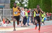 1 June 2019; Mervyn Shalemba of Mercy Mount Hawk, Co. Kerry, right, on his way to winning the Inter Boys 200m event ahead of Charles Okafor of St Finian's Mullingar, Co. Westmeath, during the Irish Life Health All-Ireland Schools Track and Field Championships in Tullamore, Co Offaly. Photo by Sam Barnes/Sportsfile