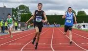 1 June 2019; Ross Stevenson of Cullybackey College, Co. Antrim, crosses the line to win the Junior Boys 200m  event during the Irish Life Health All-Ireland Schools Track and Field Championships in Tullamore, Co Offaly. Photo by Sam Barnes/Sportsfile