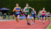1 June 2019; Cian McPhillips of Moate Community School, Co Westmeath, centre, and  Louis O'Loughlin of Moyle Park, Co. Dublin, left, competing in the Senior Boys 800m event during the Irish Life Health All-Ireland Schools Track and Field Championships in Tullamore, Co Offaly. Photo by Sam Barnes/Sportsfile