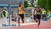 1 June 2019; Mervyn Shalemba of Mercy Mount HawkInter Boys 200m event during the Irish Life Health All-Ireland Schools Track and Field Championships in Tullamore, Co Offaly. Photo by Sam Barnes/Sportsfile