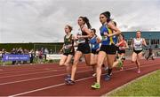 1 June 2019; Niamh Carr of Loreto College, Co. Derry, centre, on her way to winning the Senior Girls 1500m event, ahead of Alyce O'Connor of PS Inbhearsceine, Co. Kerry, who finished third, second from left, during the Irish Life Health All-Ireland Schools Track and Field Championships in Tullamore, Co Offaly. Photo by Sam Barnes/Sportsfile