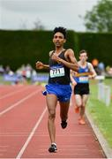 1 June 2019; Efrem Gidey of Le Chéile Secondary School, Co. Dublin, on his way to winning the Senior Boys 5000m event during the Irish Life Health All-Ireland Schools Track and Field Championships in Tullamore, Co Offaly. Photo by Sam Barnes/Sportsfile