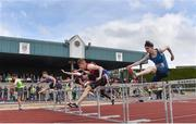 1 June 2019; A general view of the Inter Boys 100m Hurdles event during the Irish Life Health All-Ireland Schools Track and Field Championships in Tullamore, Co Offaly. Photo by Sam Barnes/Sportsfile