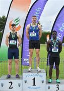 1 June 2019; Senior boys 100m medallists, from left, Conor Morey of Presentation Brothers College, Co. Cork, silver, Aaron Sexton of Bangor Grammar School, Co. Down, gold, and Israel Olatunde of St Mary's Dundalk, Co. Louth, bronze, during the Irish Life Health All-Ireland Schools Track and Field Championships in Tullamore, Co Offaly. Photo by Sam Barnes/Sportsfile