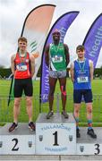1 June 2019; Senior boys high jump medallists, from left, Oisin Joyce of Ballinrobe Community School, Co. Mayo, silver, Nelvin Appiah of Moate Community School, Co. Westmeath, gold, and  Joseph McEvoy of St Anne's Commnity College Killaloe, Co. Clare, bronze, during the Irish Life Health All-Ireland Schools Track and Field Championships in Tullamore, Co Offaly. Photo by Sam Barnes/Sportsfile