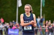 1 June 2019; Lauren Cadden of Ursuline College, Sligo, celebrates after winning the Senior Girls 200m event during the Irish Life Health All-Ireland Schools Track and Field Championships in Tullamore, Co Offaly. Photo by Sam Barnes/Sportsfile