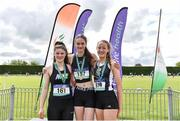 1 June 2019;  Junior Girls High jump medallists, from left, Ava Rochford of Rice College, Co. Clare, silver, Sophie Crowley of Newtown School, Co. Waterford, gold, and Michelle Cashman of Newbridge College, Co. Kildare, bronze, during the Irish Life Health All-Ireland Schools Track and Field Championships in Tullamore, Co Offaly. Photo by Sam Barnes/Sportsfile