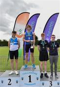1 June 2019; Inter boys pole vault medallists, from left, Luc de Ris of Gaelscoil Ceatharlach, Co. Carlow, silver, Adam O'Dwyer of CBS Thurles, Co. Tipperary, gold, Conor Flanagan of Belvedere College, Co. Dublin, bronze, and  Owen Johnston of Larne Grammar School, Co. Antrim, bronze, event during the Irish Life Health All-Ireland Schools Track and Field Championships in Tullamore, Co Offaly. Photo by Sam Barnes/Sportsfile