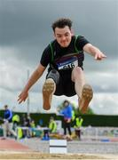 1 June 2019; Aeron Doherty of St Columba's, Co. Donegal, competing in the Senior Boys Long Jump event during the Irish Life Health All-Ireland Schools Track and Field Championships in Tullamore, Co Offaly. Photo by Sam Barnes/Sportsfile