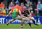 12 May 2019; Conor Whelan of Galway in action against Michael Doyle of Carlow during the Leinster GAA Hurling Senior Championship Round 1 match between Galway and Carlow at Pearse Stadium in Galway. Photo by Piaras Ó Mídheach/Sportsfile